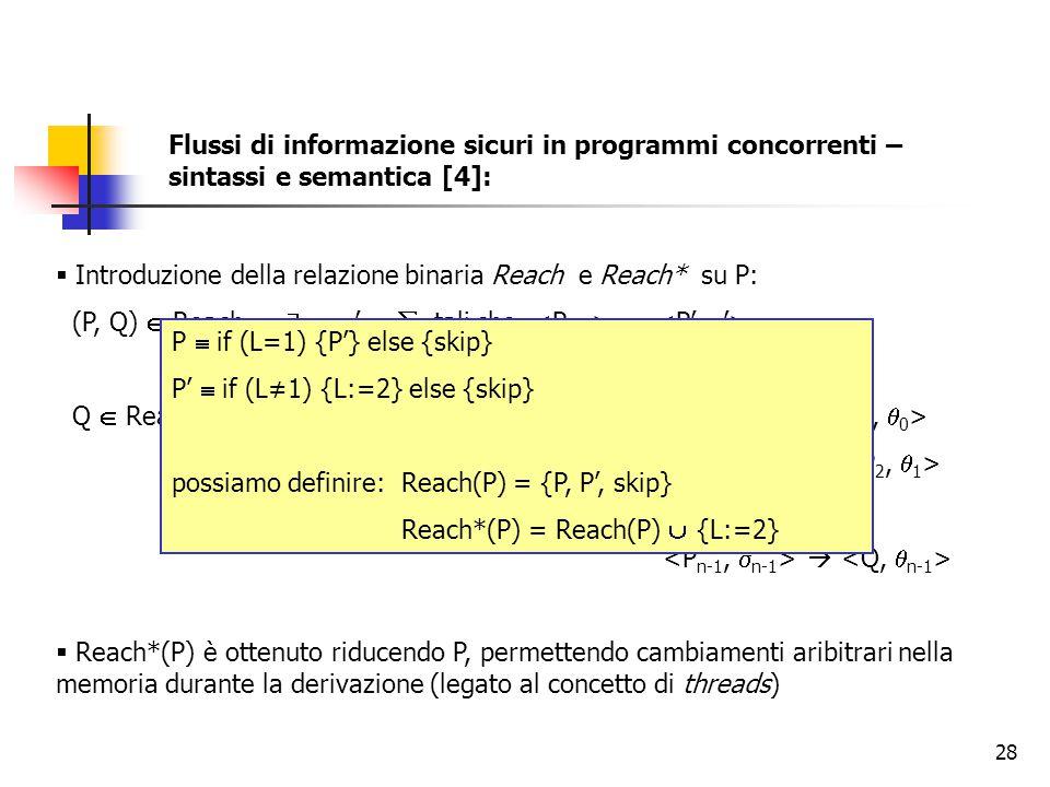 Flussi di informazione sicuri in programmi concorrenti – sintassi e semantica [4]: